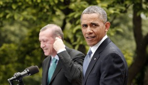 U.S. President Obama and Turkish Prime Minister Erdogan hold joint news conference in the rain at the White House in Washington