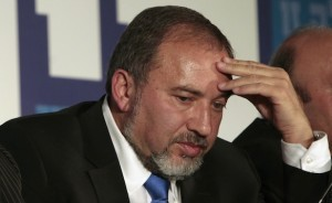 Israel's Foreign Minister Lieberman is seen during a convention of his Yisrael Beiteinu party in Jerusalem