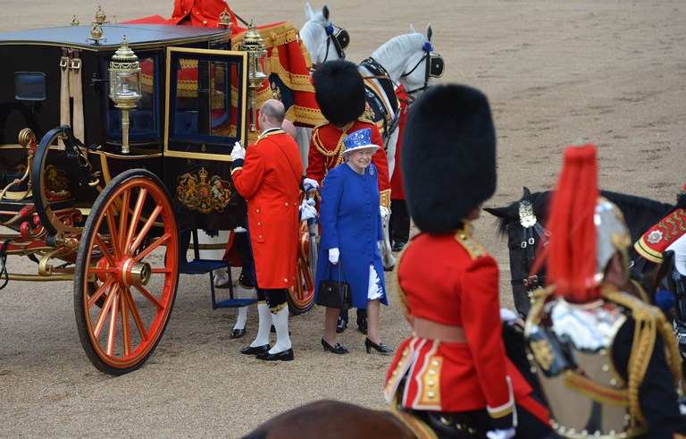 Queen Elizabeth II arrives at Horse Guards Parade, London, to attend Trooping the Colour. PRESS ASSOCIATION Photo. Picture date: Saturday June 15, 2013. See PA story ROYAL Trooping. Photo credit should read: Anthony Devlin/PA Wire