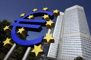 File photograph of euro sign in front of the ECB headquarters in Frankfurt