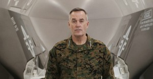 File photo of General Dunford standing in front of a U.S. Marine F-35B Joint Strike Fighter Jet at Eglin Air Force Base in Florida