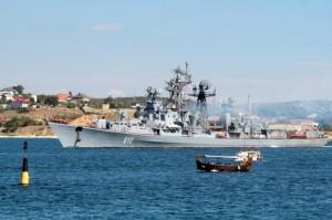 Russian destroyer Smetlivy leaves the harbour at the Crimean port of Sevastopol