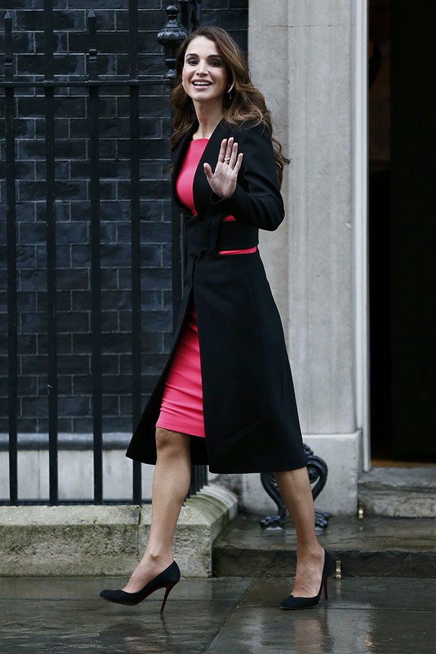 Queen Rania of Jordan leaves after meeting with Britain's Prime Minister David Cameron at Number 10 Downing Street in London
