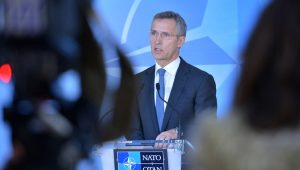 NATO Secretary General Jens Stoltenberg meets the press following the extraordinary ambassadorial meeting of the NATO-Ukraine Commission